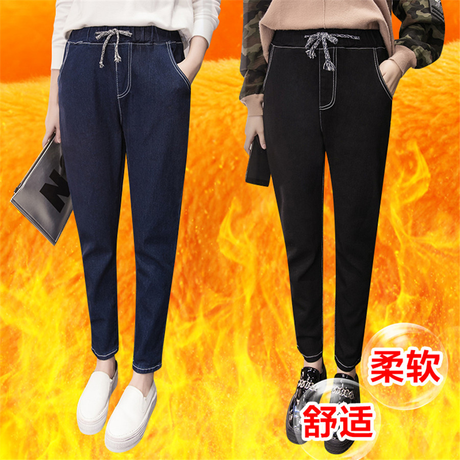 Winter Jeans For Women Thick Flock Lace Up High Waist Elastic Casual Denim Pencil Pants Skinny Female Trousers Stretch Jeans