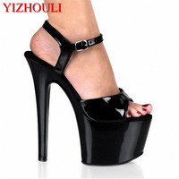 6 inch Pointed Stiletto high heels Open Toe womens Shoes 17cm high heeled sandals platform pole dance shoes