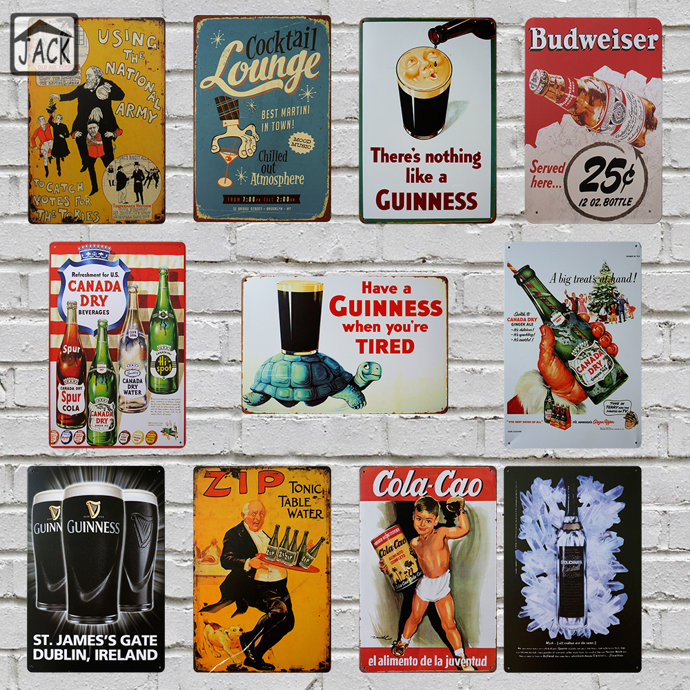 Guinness Beer Wine Cocktail Advertising Metal Tin Signs Vintage Wall Plaques Home Decor House Bar Pub Tavern iron Paintings lakers шорты