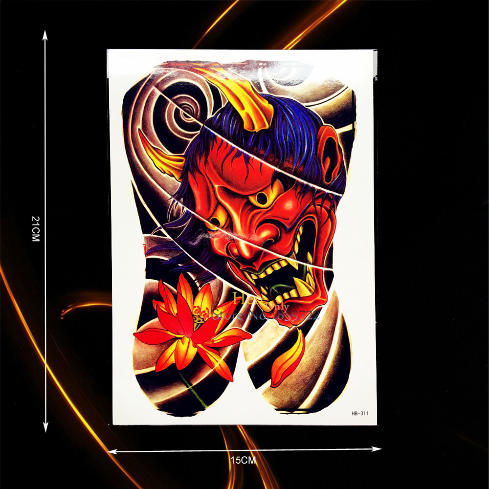 2016 Arte No Corpo Tatuagem Temporária Demônio Anjo De Metal Ouro Do Flash Moda