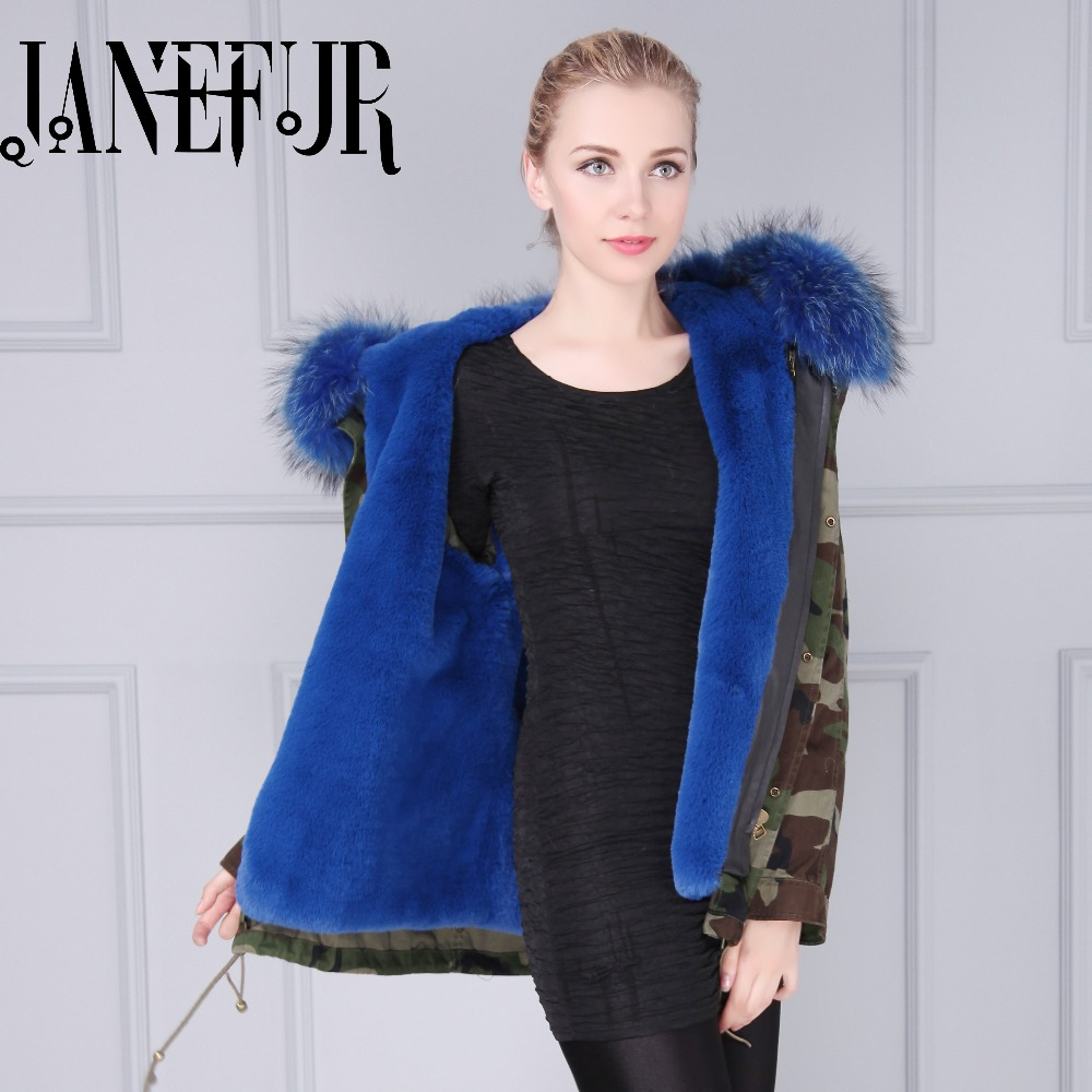 2017 Winter New Women Army Green Black Parka Jacket Coats Thick Luxurious Raccoon Fur Collar Hooded Fur Lining Female Outerwear new army bowie black