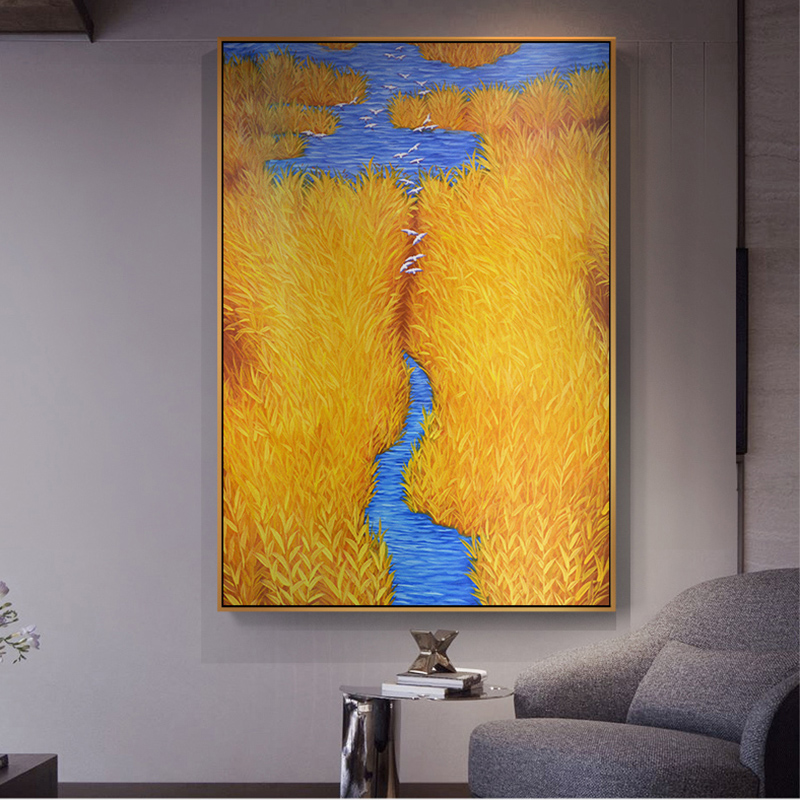 Unique Home Decor: Modern Golden Reed Brook Yellow Canvas Painting Posters N