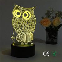 Lovely Owl 3 D Visual Light Sell Like Hot Cakes Touch The Color Decoration Illusion Desk