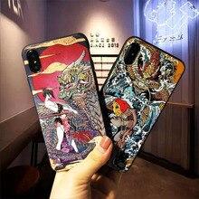 Fantástico 3d emboss dos desenhos animados modelado caso de telefone para o iphone x 8 7 6 s mais casos capa de silicone macio para iphone max xr coque