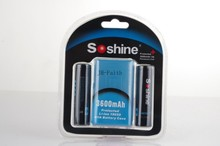 Haute Capacité Soshine 18650 3.7 V 3600 mAh Rechargeable Batterie Protégée Haute Décharge Li-ion Batteries Batterie boîte 2 pcs/lot