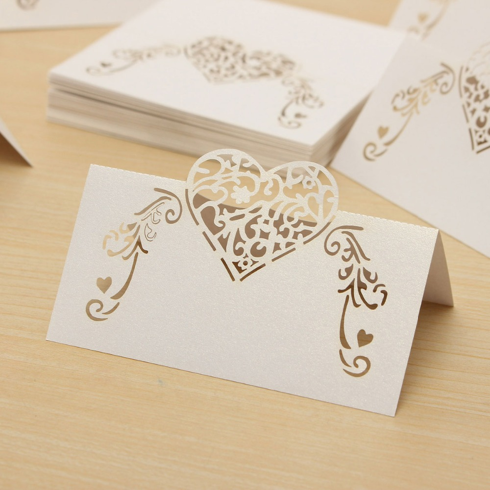 50pcs Laser Cut Lace Heart Table Name Place Card Recycled Paper For Wedding Birthday Christmas Party Favors Table Decorations