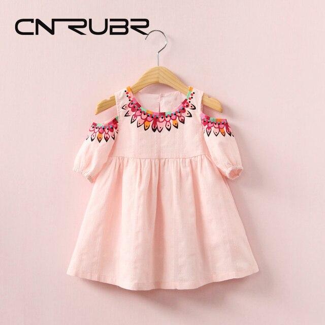 284c565c59b18a CN-RUBR Nieuwe Mode Meisjes Jurk Zomer Gedrukt Kinderkleding O-hals A-lijn
