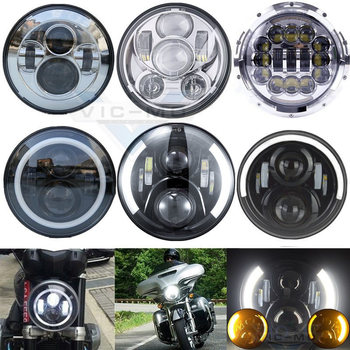 7 Round Lamp Harley Davidsion Softail Touring Road King Electra Street Glide Angel Eye Projector Daymaker 7 Inch LED Headlights harley davidson headlight price