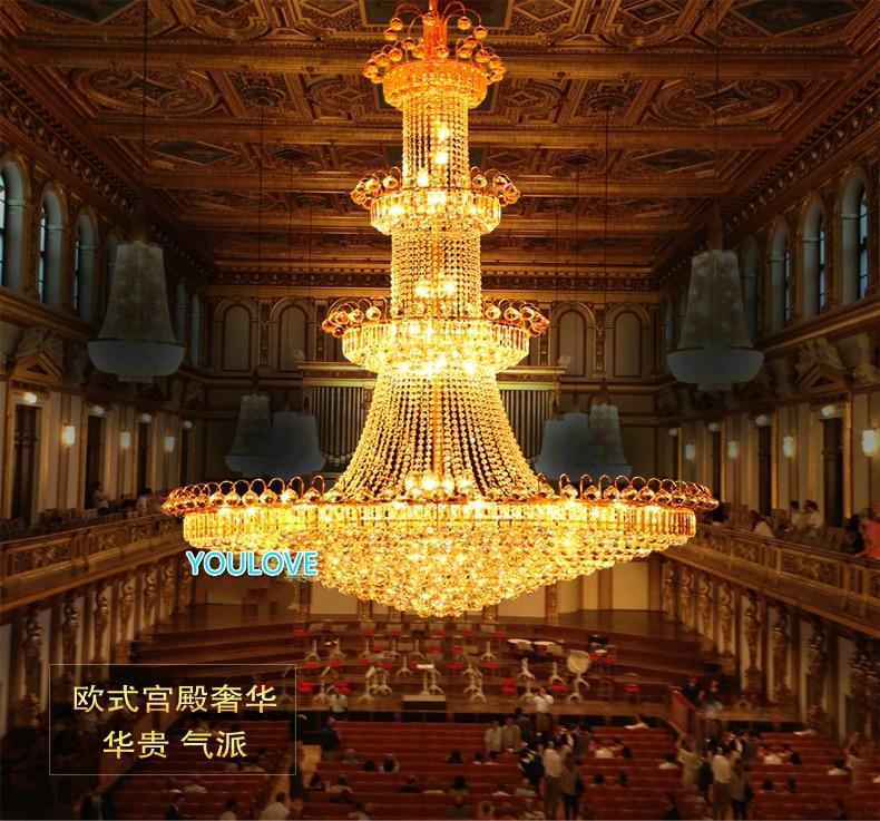 Modern Emas Kristal Chandelier Lampu Fixture Amerika Besar Emas - Pencahayaan dalam ruangan - Foto 5