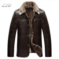 Large size Leather Coat for man Weight 95 Kg Height 190 cm sheepskin business style Designer warm collar Winter leather jackets