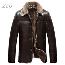 Large size Leather Coat for man Weight 100 Kg Height 190 cm sheepskin business style Designer warm collar Winter leather jackets