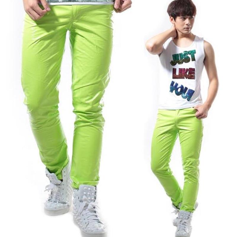 Hommes couleur bonbon néon Slim pantalon costumes discothèque chanteur danseur scène spectacle perforance pantalon