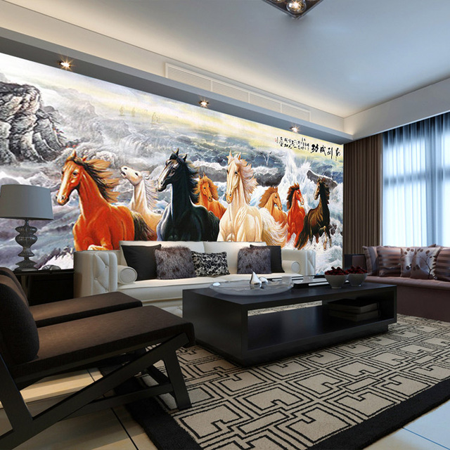 Galloping Horse Painting Wall Mural 3D Wallpaper Custom Animal Photo Wallpaper  Bedroom Boys Kids Bedroom Room