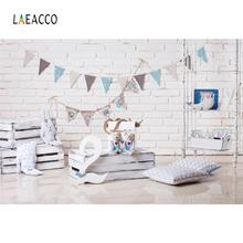 Birthday Backdrops Gray Brick Wall Baby Party Pillow Flag Toys Love Portrait Photo Background Photocall Studio