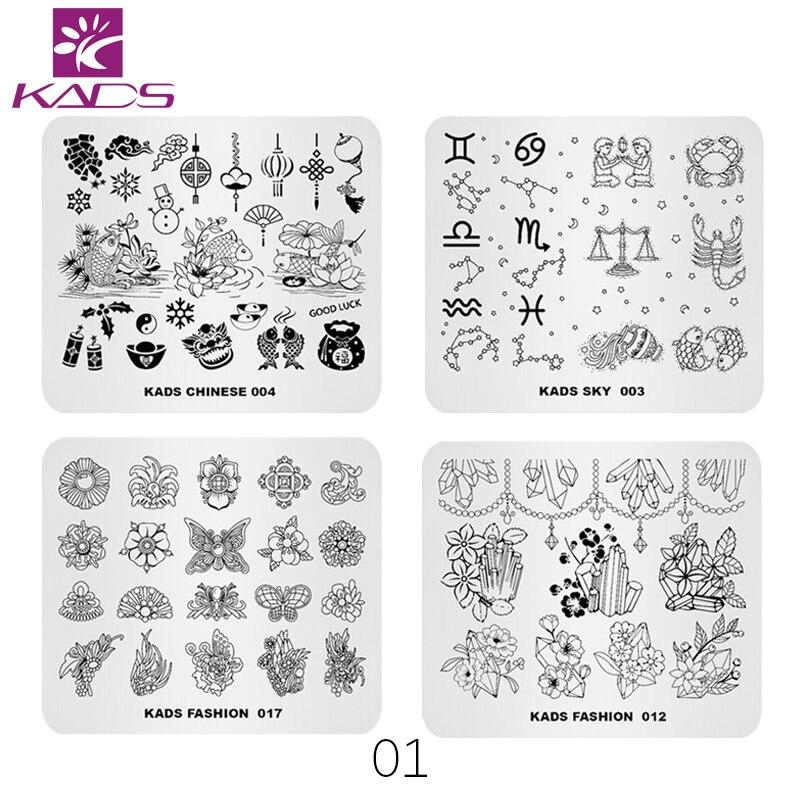KADS nueva llegada 4 unids/set Nail Stamping placas flor océano moda ...