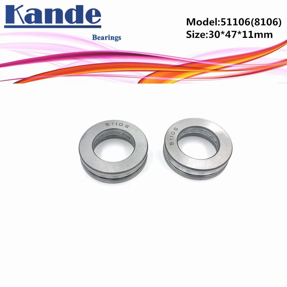 51106 8106 2pcs 30x47x11 ABEC-1 Bearing  Flat Thrust Ball Bearing 30x47mm Axial Thrust Bearing 8106 Kande Bearings