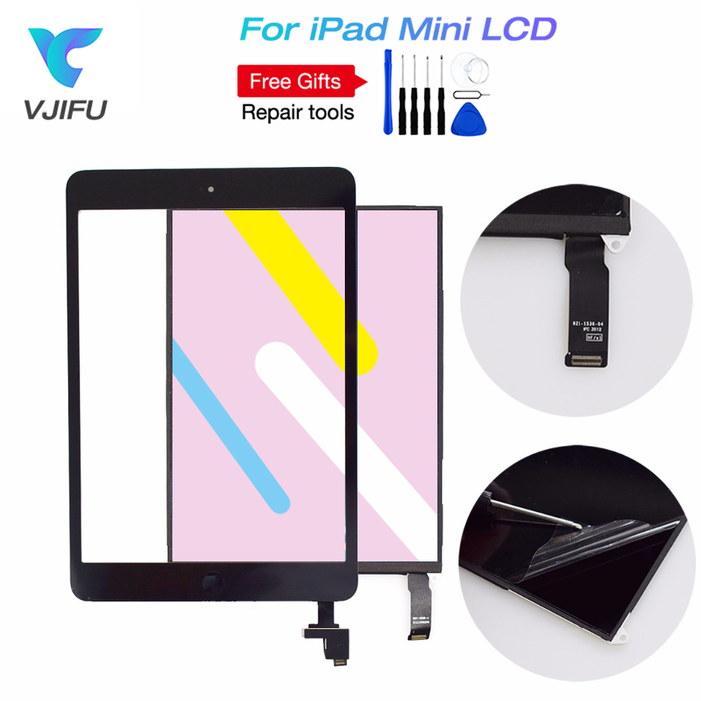 Black White For iPad Mini 1st A1432 A1454 A1455 Touch Screen Digitizer Sensor Glass + LCD Display Screen Panel Monitor