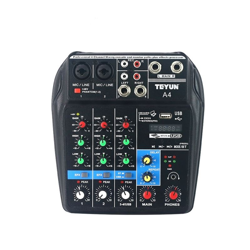 48V mixer Sound Mixing Console with Bluetooth Record 48V Phantom Power Monitor Paths Plus Effects 4 Channel Audio Mixer with USB paths to power