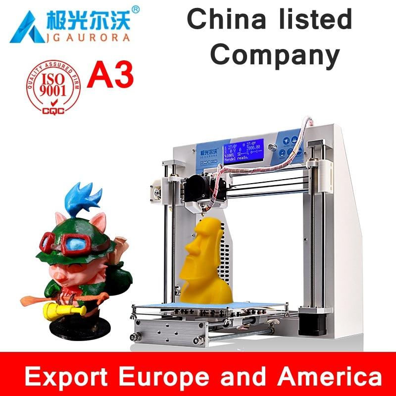 JG AURORA A3 DIY education grade 3D Printer  PLA/ABS/PC 3D printer forming size 190x190x180mm China listed company 110V/220V вафельница aurora star eggettes 180 a16