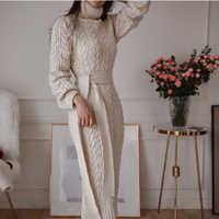2019 zima Temperament pęknięcie elegancka koronka talia Twist wysoki kołnierz dzianiny wydłużony sweter sukienka dropshipping