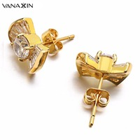 2016 New Fashion Korean Jewelry White Rose Gold Plated Butterfly Bow Knot Stud Earrings For Gilrs
