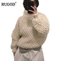 RUGOD Thick Winter Sweater For Women Crocketed Fashionable Long Sleeve Loose Pullover Female Stylish Jersey Mujer