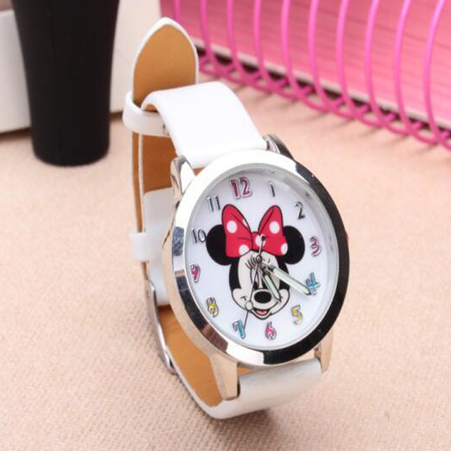 New Fashion Brand Minnie watch Women Dress kids hellokitty Watches Cartoon Leath