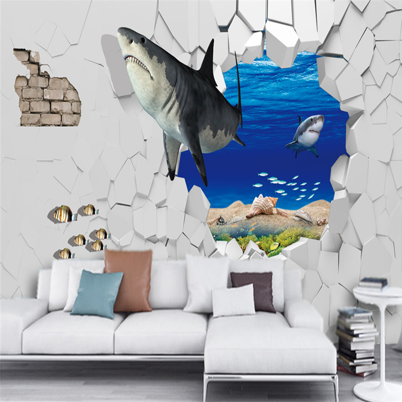 Underwater 3d Decor Wall Paper Removable Sticker Ocean Shark Wallpaper Art Decal Large Blue Water Photo Sea Boy Room Covering Mural