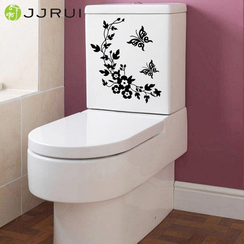 € 2.89 15% de réduction|JJRUI 21 couleur papillon fleur salle de bain  décoration murale maison décalcomanie toilette siège autocollant décor à la  ...