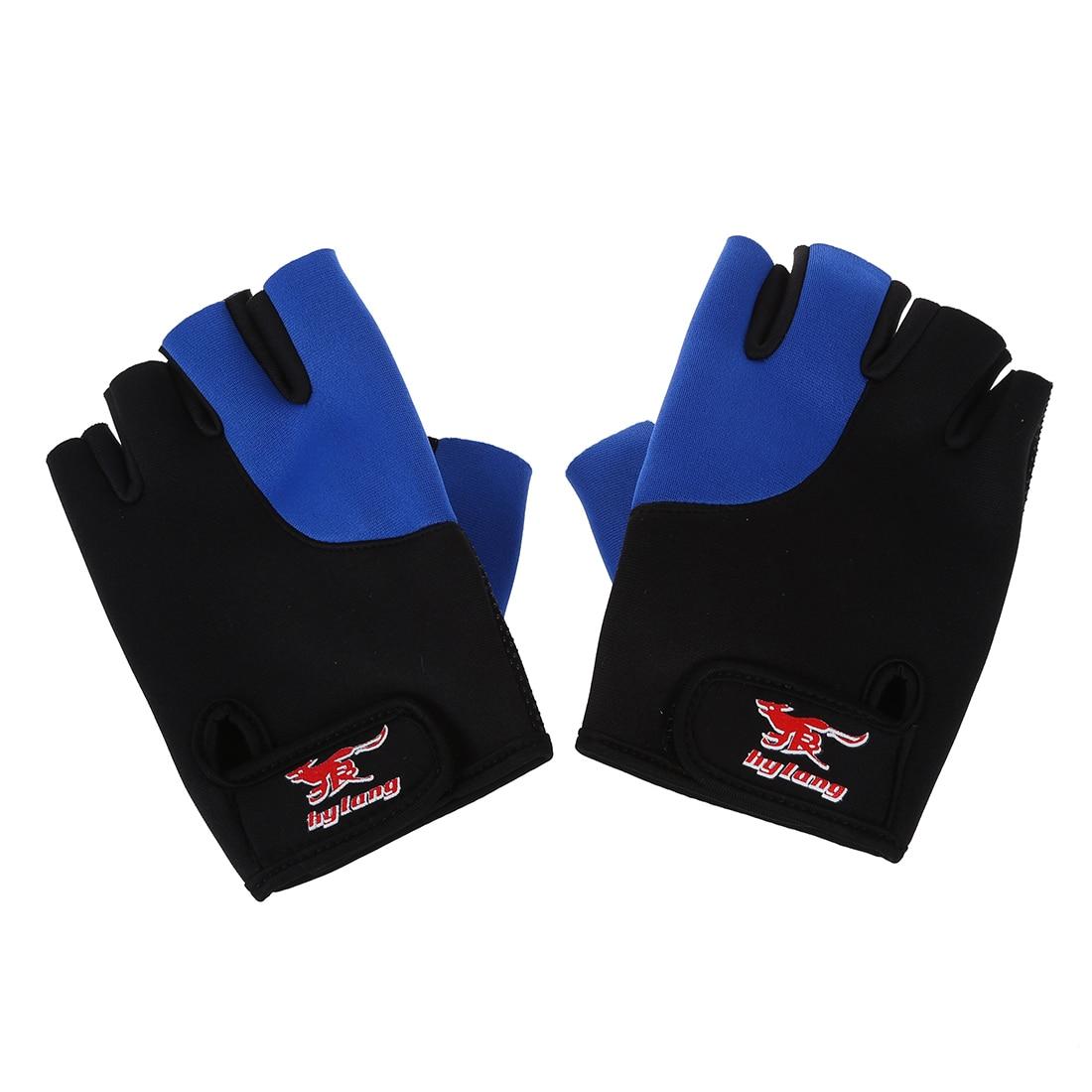 New 2 Pcs Black Blue Neoprene Fingerless Sports Gloves for Men