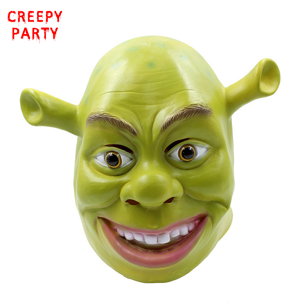 Green Shrek Latex Masks Movie Cosplay Adult Animal Party -9046