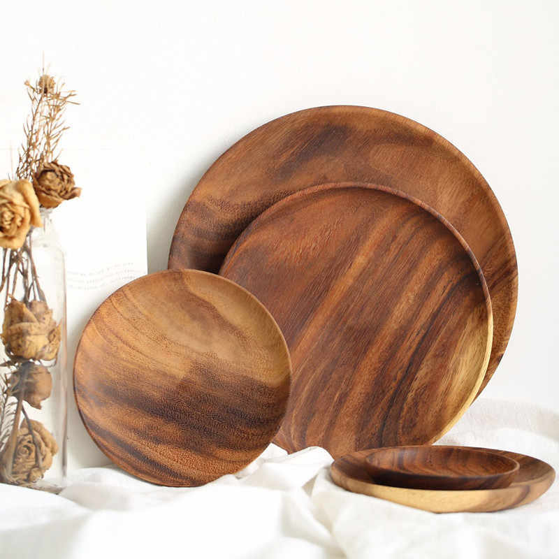 Whole Wood Pan Plate Fruit Dishes Saucer Tea Tray Dessert Dinner Bread Wood Plates Solid Wood Round