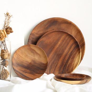 Talerz z litego drewna talerz potraw z owoców spodek taca herbaciana deser obiad chleb płyty drewniane z litego drewna okrągłe tanie i dobre opinie CN (pochodzenie) Stałe ROUND Wood Whole Wood 10 15 20 25CM Support Solid Wood Plates Wood Serving Tray Dinner Plate Dessert Plate Sushi Plate