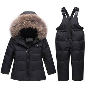 Image 3 - 2020 children autumn winter thin down jacket parka real Fur boy baby overalls kids coat snowsuit snow clothes girls clothing Set