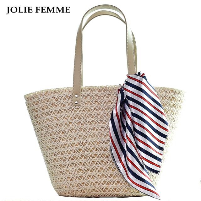 7e4254360b7be JOLIE FEMME Women Summer Handbags Ladies Tote Shopping Beach Bags Fashion  Silk Scarf WeaveTravel Shoulder Bags