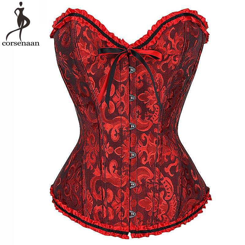 Overbust Jacquard Floral   Corset   Lace Up Gothic korset Fish Boned   Bustier   Plus Size Gorset Women Outwear   Corsets   Busk Corsetto