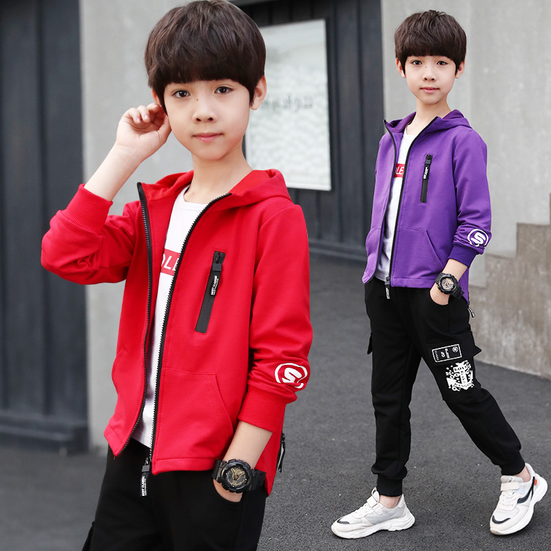 2020 Spring Autumn Teenage <font><b>Clothes</b></font> Set 4 5 6 7 8 9 10 <font><b>11</b></font> 12 13 14 <font><b>Years</b></font> <font><b>Old</b></font> Big Boy Sports Suit Hooded Jacket Pants Clothing Set image