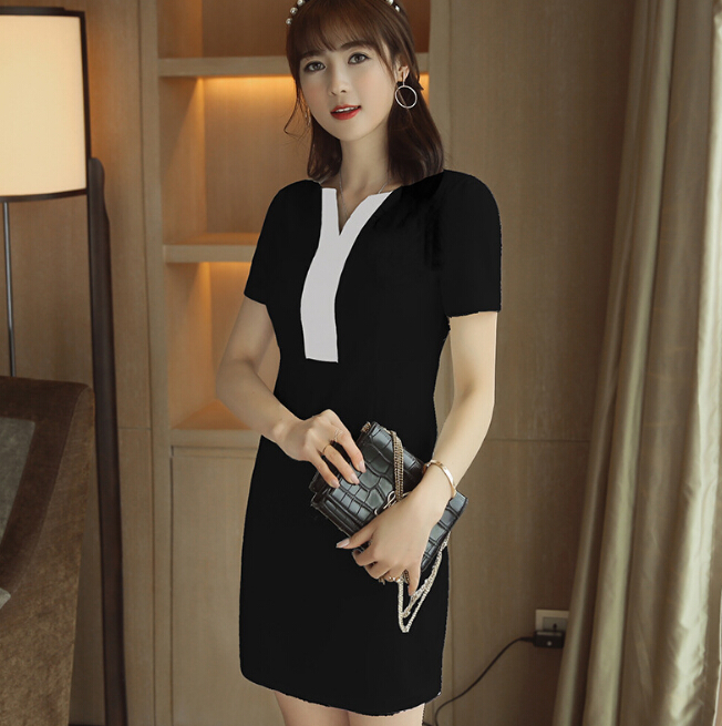Summer dress women clothing patchwork bodycon dress slim show thin short sleeve dress bl ...
