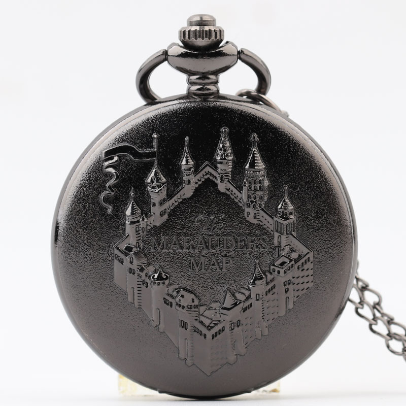 Pocket & Fob Watch Bronze The Marauder's Map Design Pendant Pocket Watch for Women/Men Quartz Pocket Watch Necklace