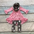 2016 baby FALL/Winter 3 pieces scarf sets children suit baby girls white bear clothing girls  boutique clothes pink dress top