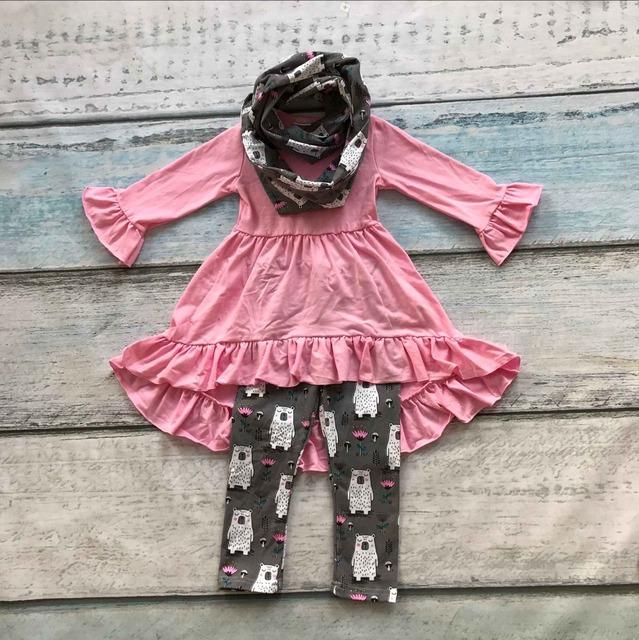 2016 do bebê do OUTONO/Inverno 3 peças cachecol define crianças terno do bebê meninas roupas urso branco meninas boutique de roupas cor de rosa top vestido