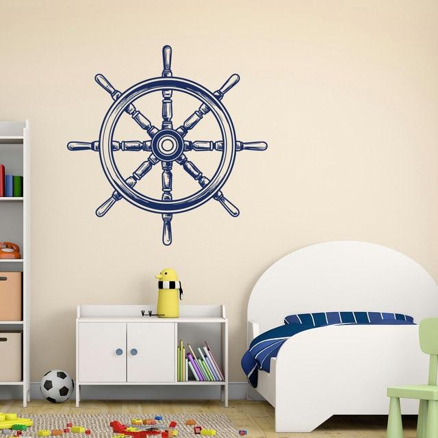 Nautical Nursery Wall Decals Ship Wheel Wall Decal Removable Vinyl - Removable vinyl wall decals for home decor
