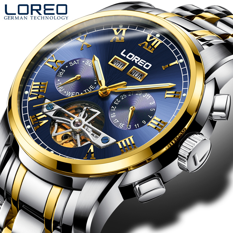 LOREO Tourbillon automatic mechanical stainless steel strip gold business fashion casual waterproof hollow font b simple