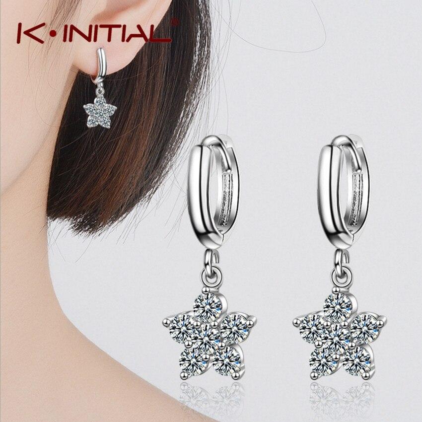 Kinitial Fashion Stars Drop Rhinestone Earrings for Women Silver Plated Jewelry Boho Vintage Statement Earrings Bijoux
