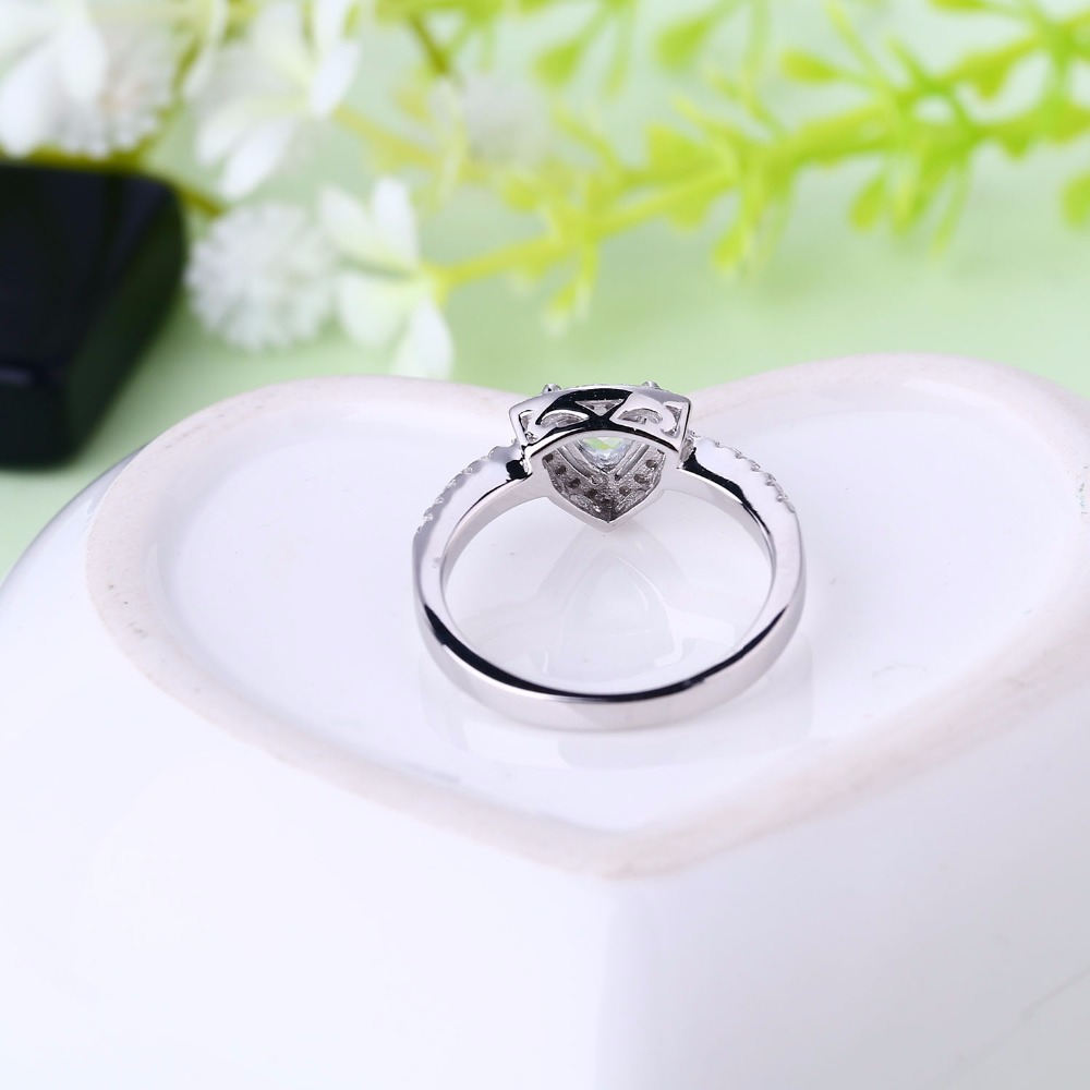 Heart By White Gold Rings 925 Sterling Silver Triangle Wedding Jewelry For Women With Pure Topaz Engagement Ring In From