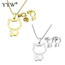 Fashion Gold/Sliver-Color Stainless Steel Set Women Bridal Jewelry Sets Cat Shape Necklace Earrings Wedding Jewelry Set Women