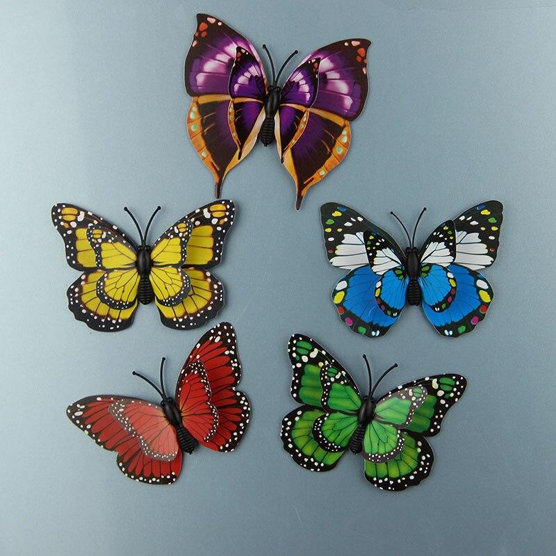 12 Unids/lote PVC 3D Imán Doble Mariposas Imán DIY Etiqueta de La Pared Decoraci