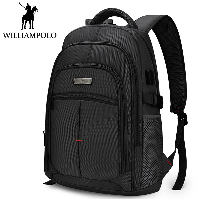 Williampolo Men Backpack Travel Backpack Fashion Brand Laptop BackPack Waterproof USB Charge Design Bag For Men Black Blue Gray
