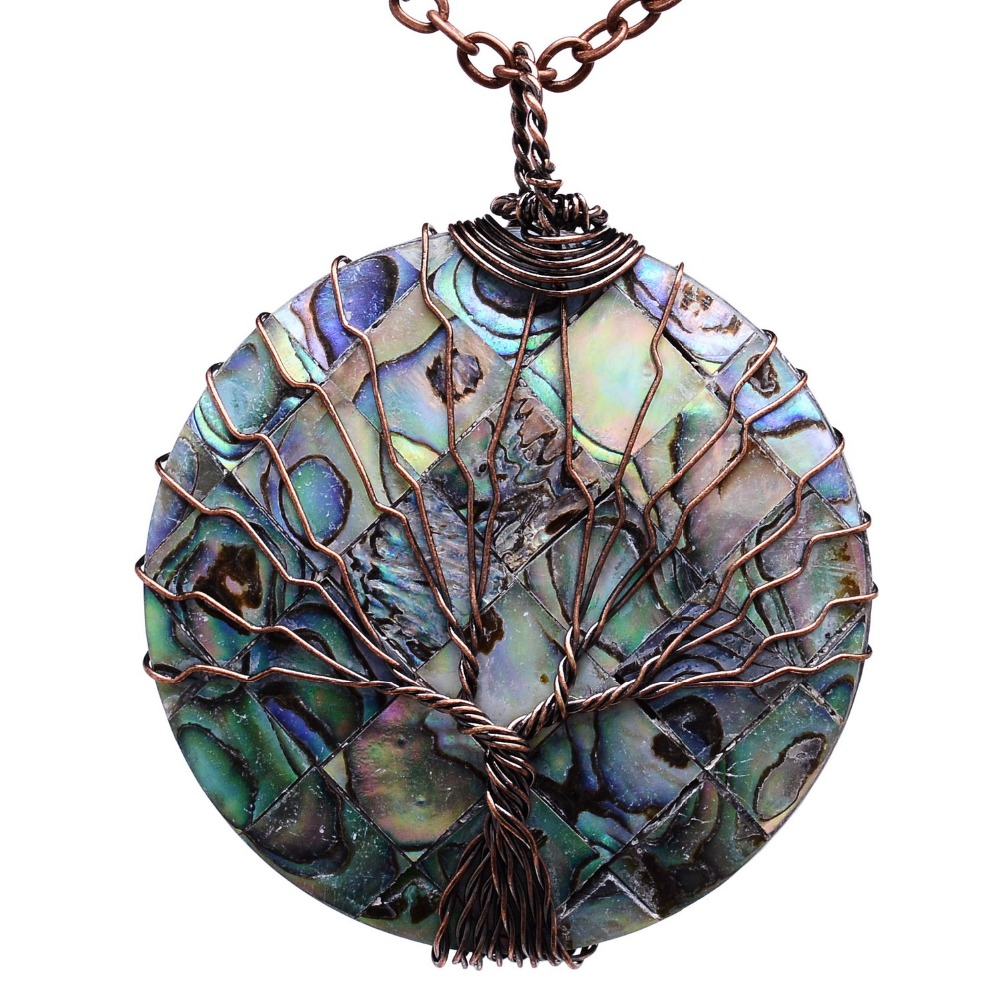 Qilmily vintage wrapped handmade round abalone pendants necklaces qilmily vintage wrapped handmade round abalone pendants necklaces for women copper wire colorful charm decor jewelry gifts in pendant necklaces from jewelry mozeypictures Image collections