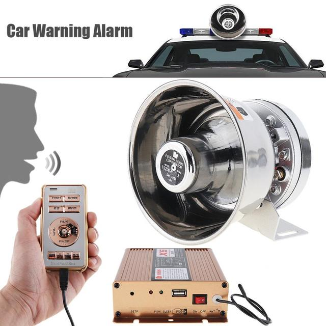 Universal 12V 200W 18 Tone Car Warning Alarm Police Siren Horn PA Speaker with MIC System + Wireless Remote Control